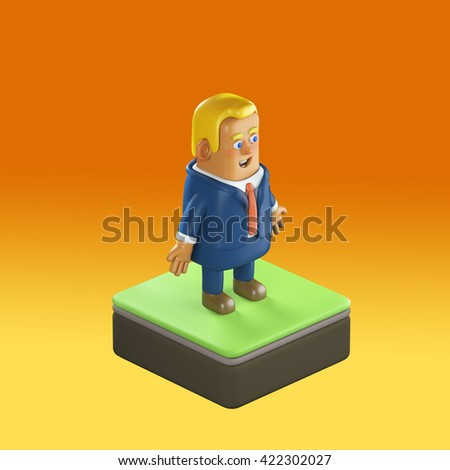 3D illustration plastic toy business man  - stock photo