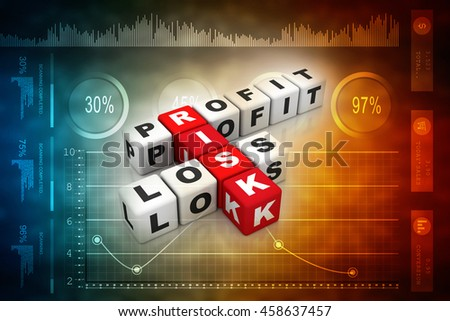 3d illustration profit, loss and risk ( red-white crossword series) - stock photo