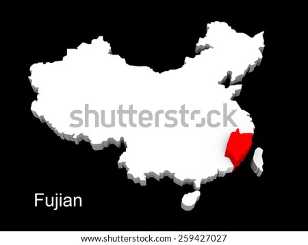 3d illustration province of china,focus on fujian - stock photo