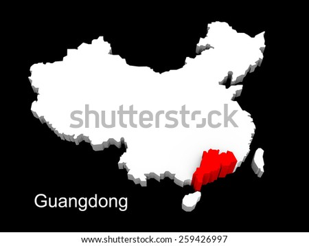 3d illustration province of china,focus on guangdong - stock photo
