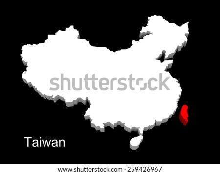 3d illustration province of china,focus on taiwan - stock photo