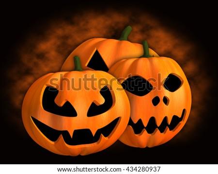 3D illustration pumpkin halloween - stock photo