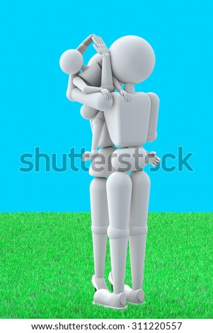 3D illustration. Puppet people. Married couple on lawn. Keep child hands. Hands represent symbol home.Standing on grass. Blue background - stock photo