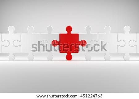 3d illustration, Puzzle symbolizes Team spirit - stock photo