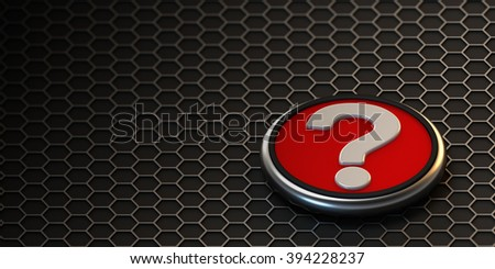 3d illustration. Question mark on a hexagonal grid. - stock photo