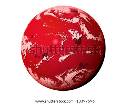 "3D illustration ""Red planet"", made in photoshop. - stock photo"