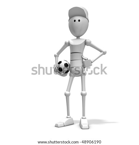 3d illustration/rendering of a soccer player - stock photo