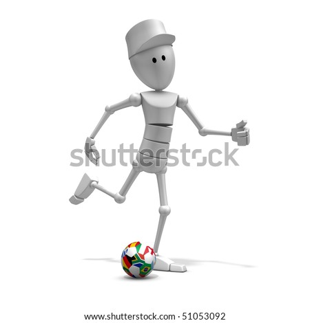 3d illustration/rendering of a soccer player with world cup 2010 ball with national flags - stock photo