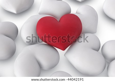 3d illustration/rendering of  one velvety red heart lying on top of several white hearts, close-up - stock photo