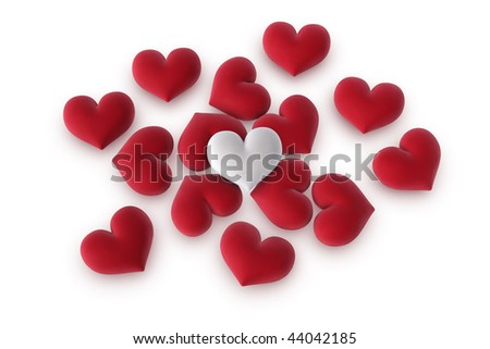 3d illustration/rendering of  one velvety white heart lying on top of several red hearts - stock photo