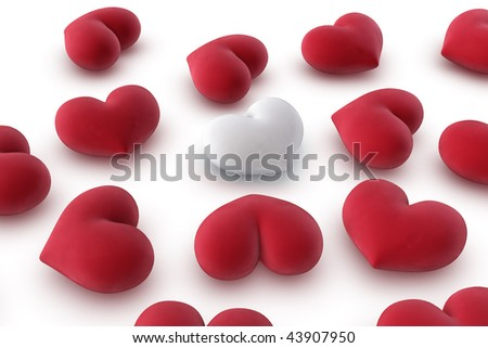 3d illustration/rendering of one white heart among several red hearts, close-up - stock photo