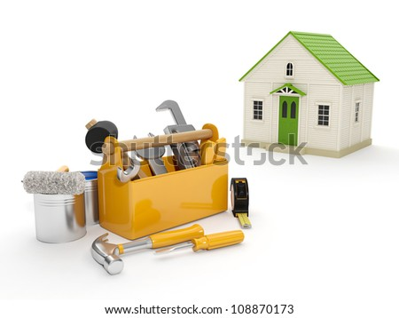 3d illustration: Repair and construction of the house. Tool box and a house in the background. The white background isolated - stock photo