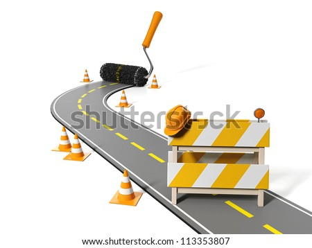 3d illustration: Repairs, maintenance and construction of pavement - stock photo