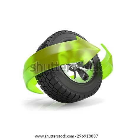 3d illustration: replacement and repair of automobile wheels - stock photo