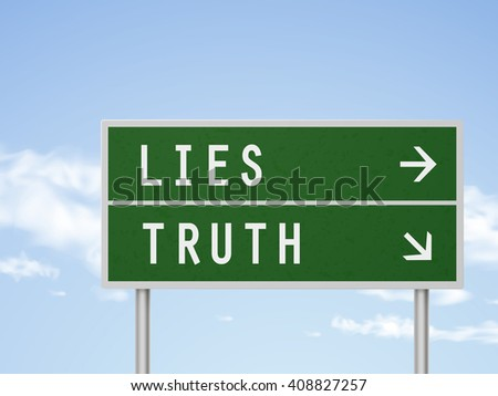 3d illustration road sign with lies and truth isolated on blue sky - stock photo