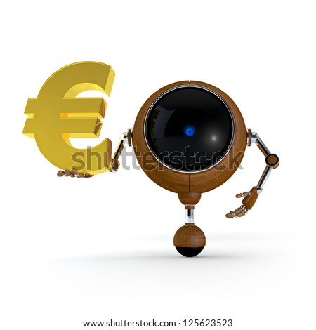 3D Illustration Robot Hold Money Sign in Hand.  Euro Sign. Isolated on Background - stock photo