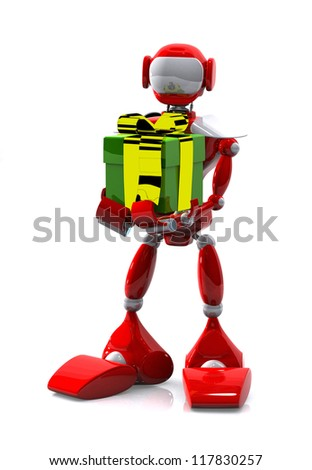 3d illustration robot with a gift on white background - stock photo