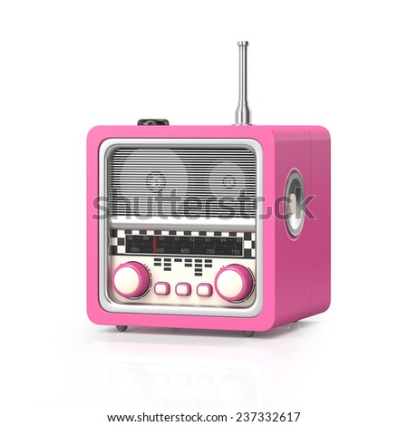 3d illustration: Rock and roll radio on a white background - stock photo