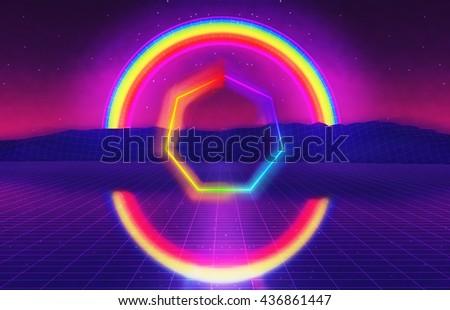 3D Illustration - 80s futuristic landscape with rainbow  - stock photo
