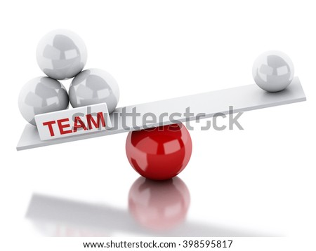 3D Illustration. Seesaw balance between teamwork and leadership. Business concept. Isolated white background. - stock photo