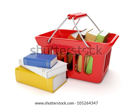3d illustration: Shopping for the purchase of books and the band on a white background, buying books online - stock photo