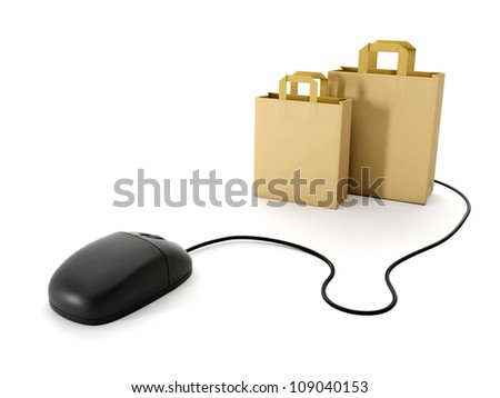 3d illustration: Shopping online. Computer Mouse and a group of paper bags - stock photo
