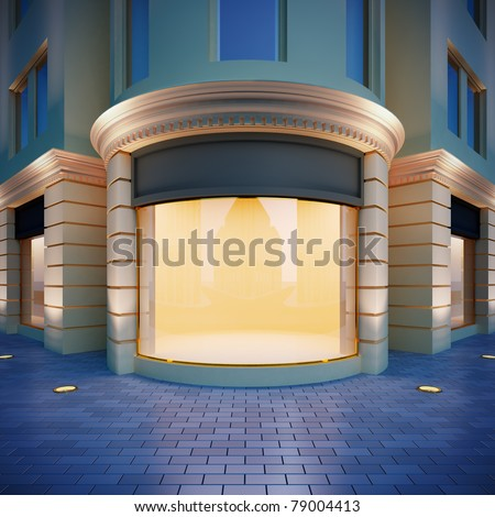 3D illustration showcase in classical style . Evening view. - stock photo
