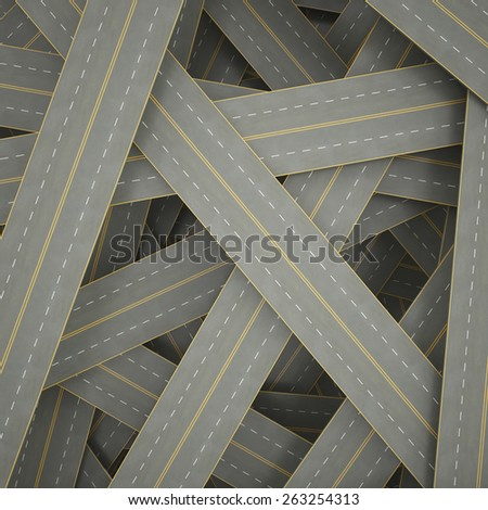 3d illustration tangled, crowded, chaotic roads. 3d high resolution image - stock photo