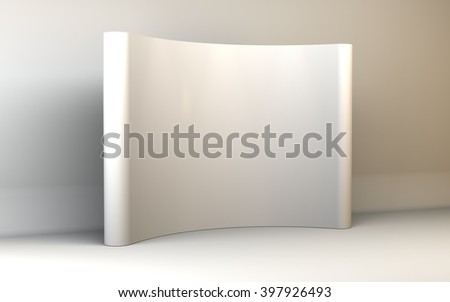 3D illustration Trade exhibition stand, Exhibition Stand round, 3D rendering visualization of exhibition equipment, a set of stands, Advertising space on a white background, with space for text ads - stock photo