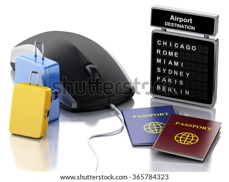 3d illustration. Travel suitcase, passport, airport board and computer mouse. Online booking or travel concept. Isolated white background - stock photo