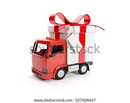 3d illustration: Truck delivering a gift - stock photo