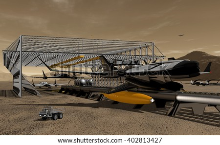 3D Illustration - Turnaround cycle of Maglev rocket shuttles to Phobos - stock photo