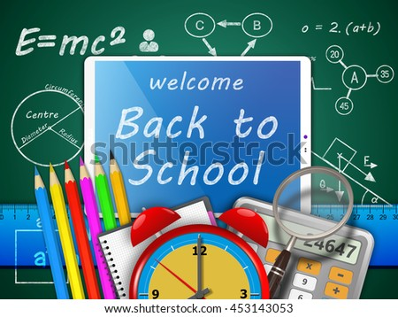 3D Illustration, Welcome back to school. School supplies on blackboard background. - stock photo
