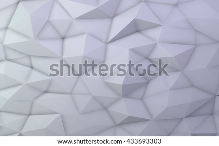 3D illustration - White low poly texture  - stock photo