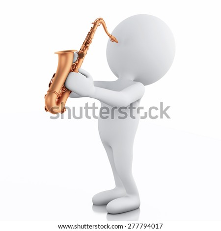 3d illustration. White people playing saxophone. Isolated on white background - stock photo