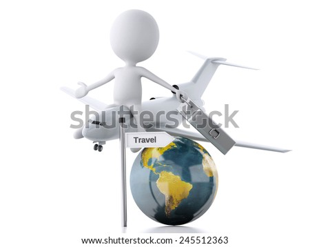 3d illustration. white people tourist with suitcases and a airplane, travel concept. Isolated white background. - stock photo