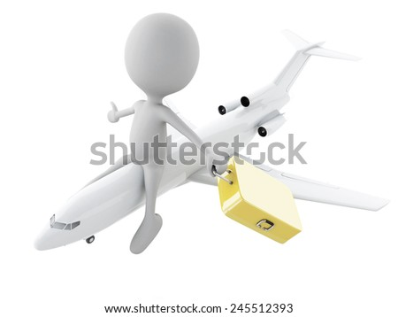 3d illustration. white people tourist with suitcases, travel concept. Isolated white background. - stock photo