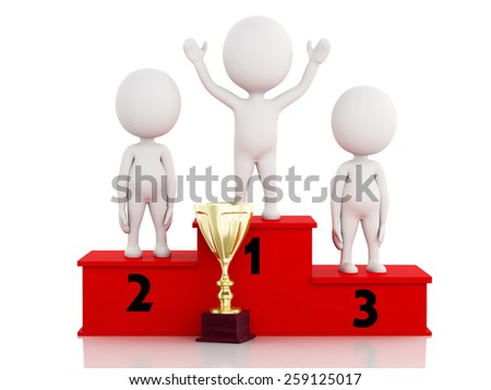 3d illustration. White people winner celebrating on podium with trophy. Isolated white background - stock photo