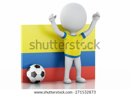 3d illustration. White people with Colombia flag and soccer ball. Isolated white background - stock photo