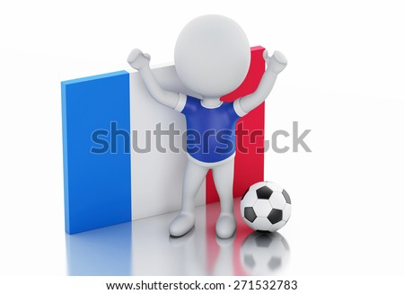 3d illustration. White people with France flag and soccer ball. Isolated white background - stock photo