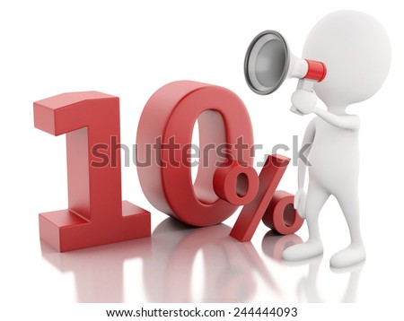 3d illustration. White people with red percent sign. discount concept on white background - stock photo