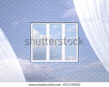 3D illustration. Window in a brick wall and blue sky. - stock photo