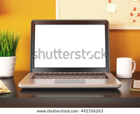 3D illustration with blank laptop screen. Mockup - stock photo