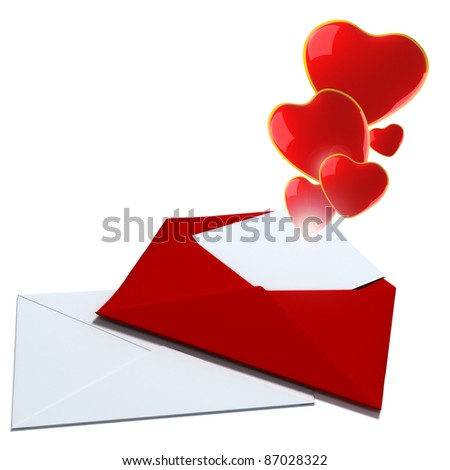 3d  illustration with envelope and glassy red  hearts - stock photo
