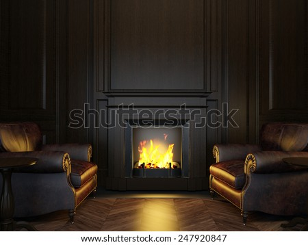 3d illustration wood panels armchairs and fireplace - stock photo