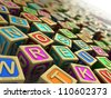 3d illustration: wooden cubes with letters and numbers - stock photo