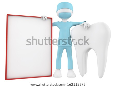 3d imafe of dentist, a tooth and blank placard - stock photo