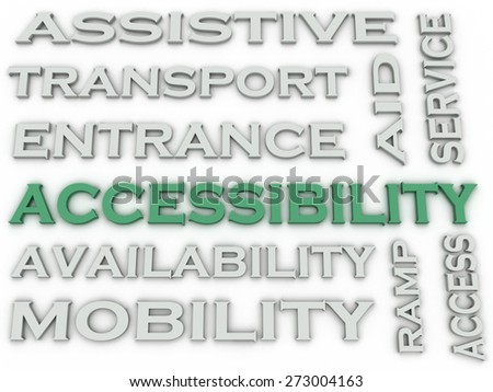 3d image Accessibility  issues concept word cloud background - stock photo