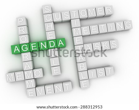 3d image Agenda issues concept word cloud background - stock photo