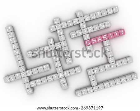 3d image Charity  issues concept word cloud background - stock photo